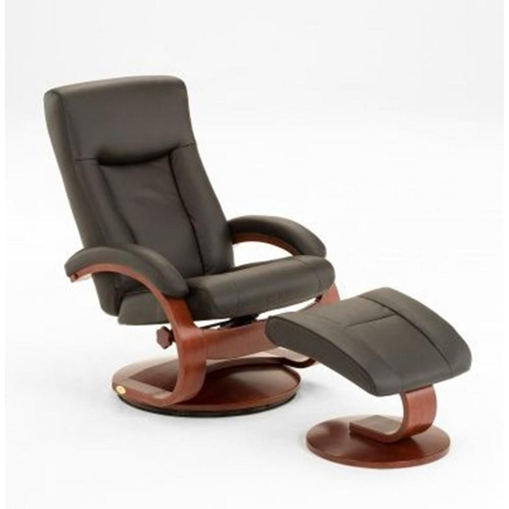 Mac Motion Oslo Collection Black Top Grain Leather Swivel Recliner With Ottoman 54 Lo3 10 101 The Home Depot Swivel Recliner Recliner With Ottoman Leather Chair With Ottoman