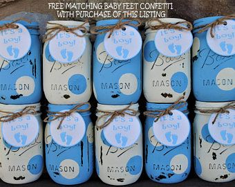 Baby Boy Shower Mason Jar Centerpieces, Blue And White Polka Dots, Shabby  Chic Distressed