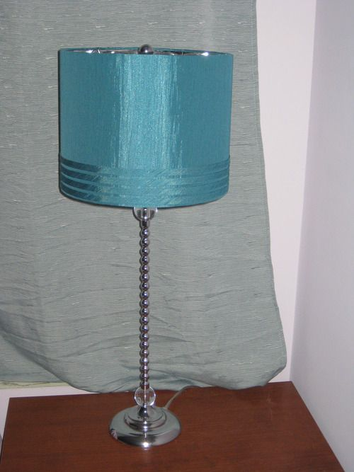 Lamp With Shiny Turquoise Lamp Shade
