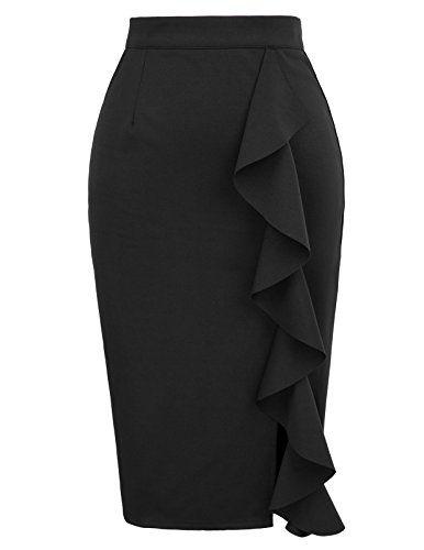 949c84e1d4 GRACE KARIN Women's Ruffle Office Wear Slim Fit Vintage Pencil Skirt ...