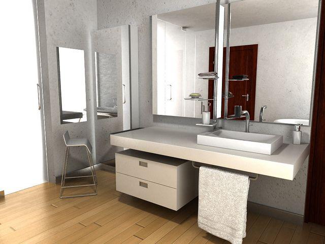 Dise o de mueble para lavabo empotrado espejo y accesorios para ba o by cubo 3 taller de - Espejos para lavabos ...
