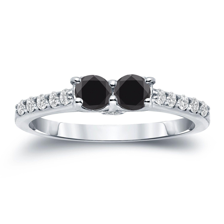 Auriya k gold ct tdw stone round cut black diamond engagement