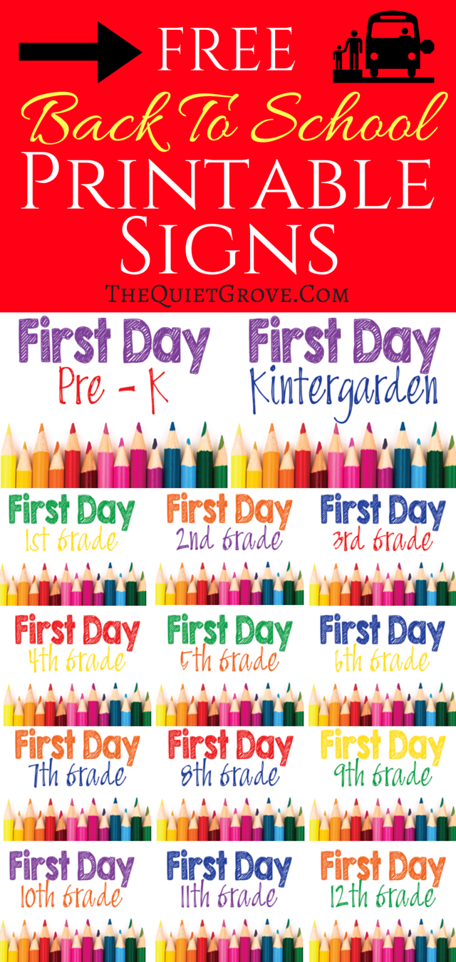 5 Free Back To School Printable Sign Sets School Photos