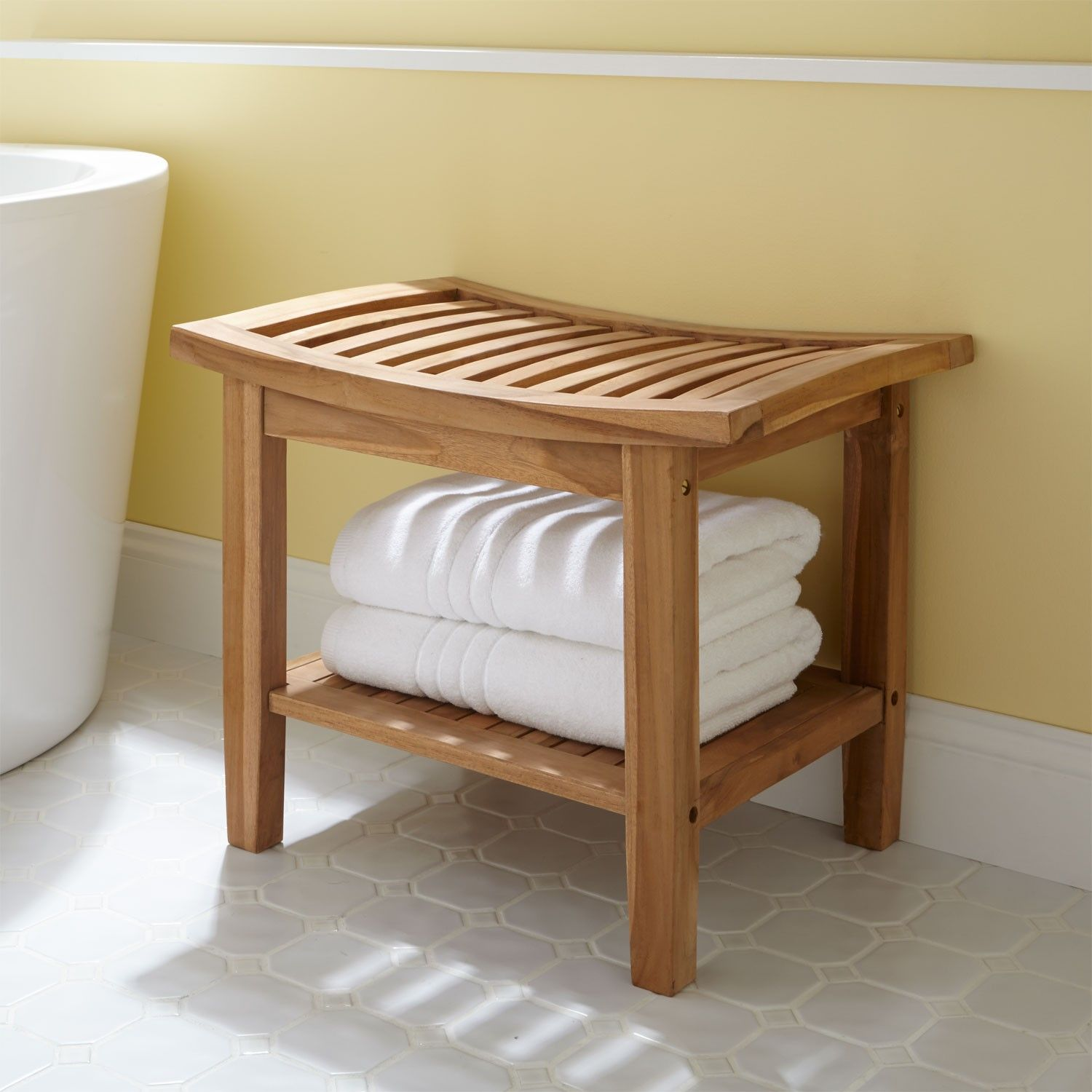 Delicieux Bathroom, Chic Curved Rail Seat Teak Shower Bench With Shelves As Towel  Storage And Cool White Free Standing Porcelain Tub In Half Bathroom Decor  Views: ...