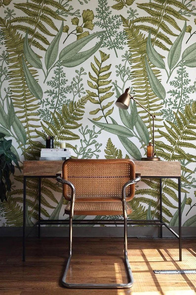 Botanical Greenery Peel And Stick Wallpaper Fern Wallpaper Etsy Green Home Decor Wall Murals Diy Fern Wallpaper