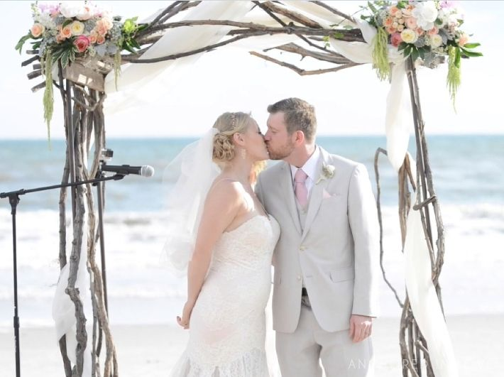 Arminta Chris Beach Wedding At Oak Island Nc Arbor And Flowers By