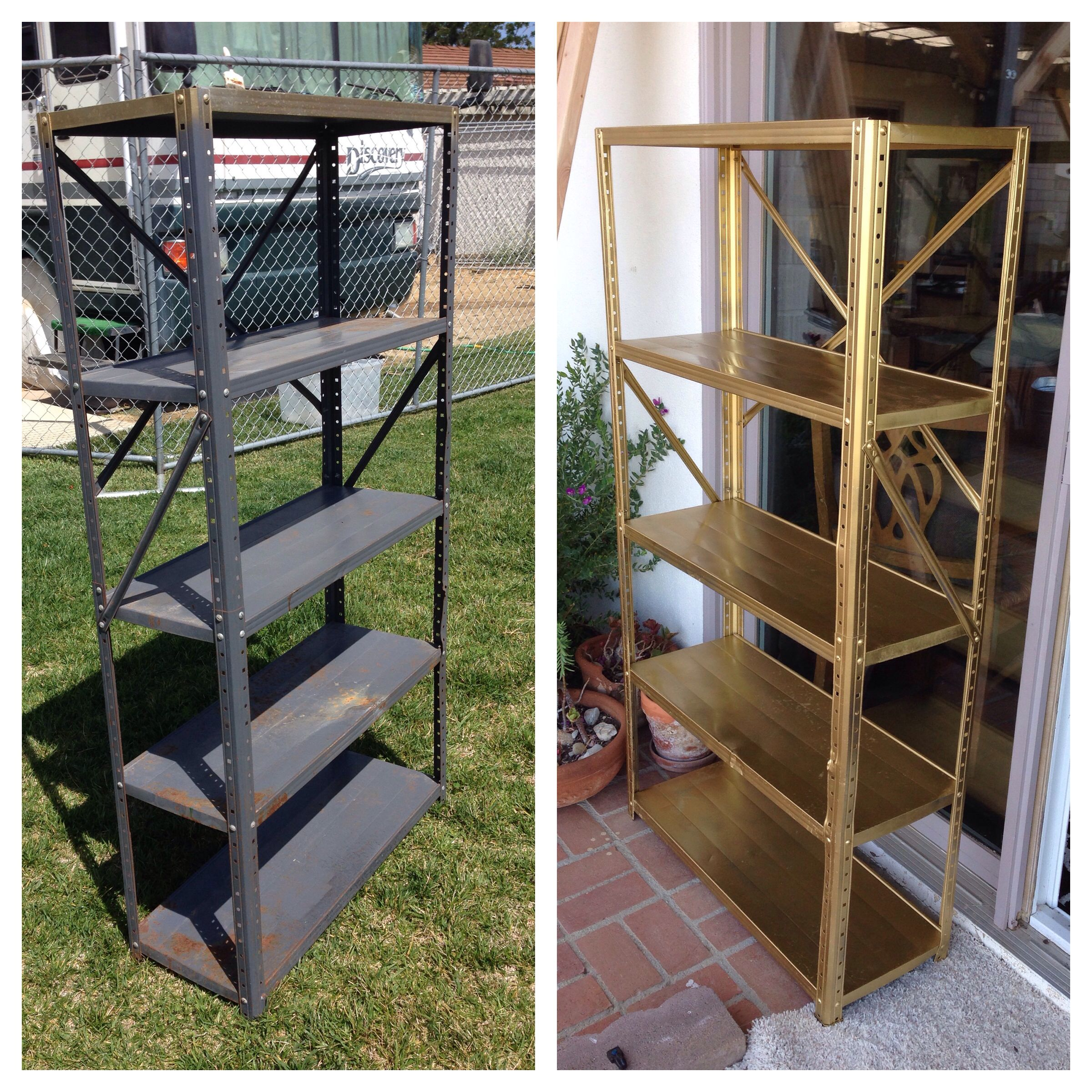 5 Old Metal Shelf Transformed With Sandpaper And Gold Spray Paint Topped Off With A Spray Polyurethane Shelf Makeover Metal Shelves Plastic Shelves