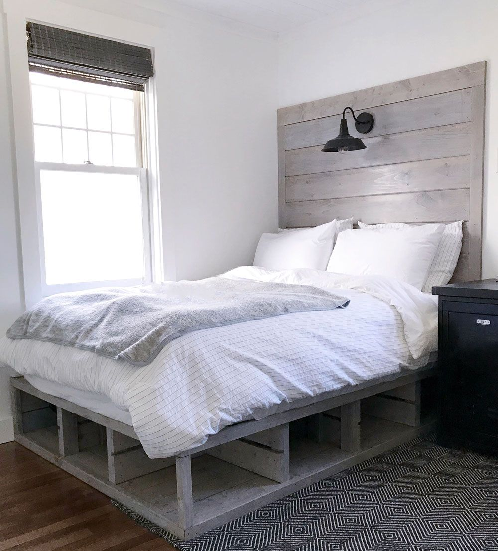 Crate style storage bed and headboard diy storage bed