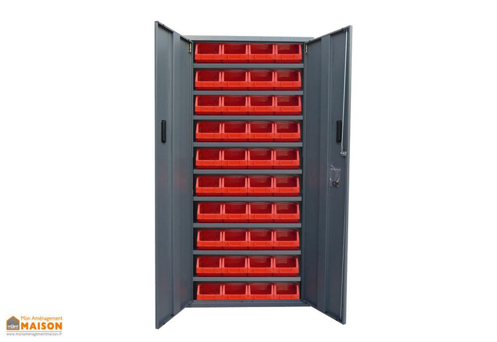 Armoire De Rangement Acier 2 Portes 40 Bacs Rouges 4l 260x760x1600 Avec Images Armoire Rangement Rangement Armoire