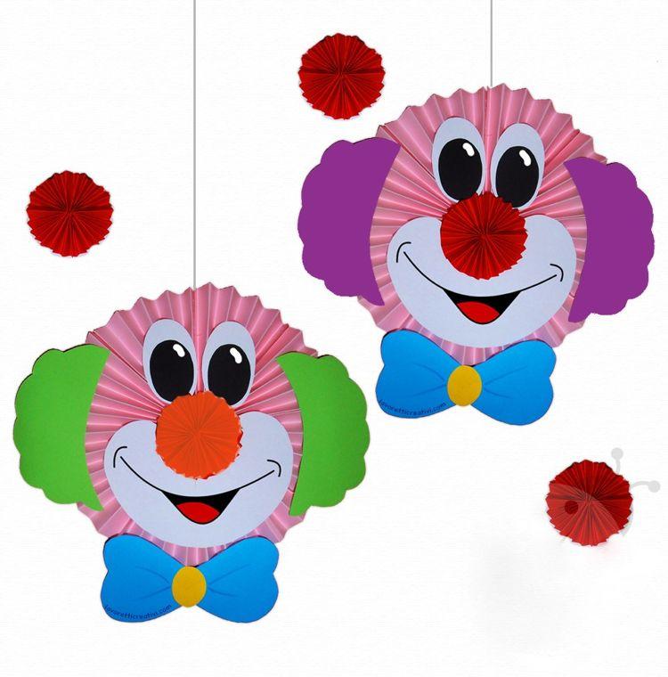 Faschingsmasken Basteln clown basteln zum aufhängen grundschule rosetten basteliedeen
