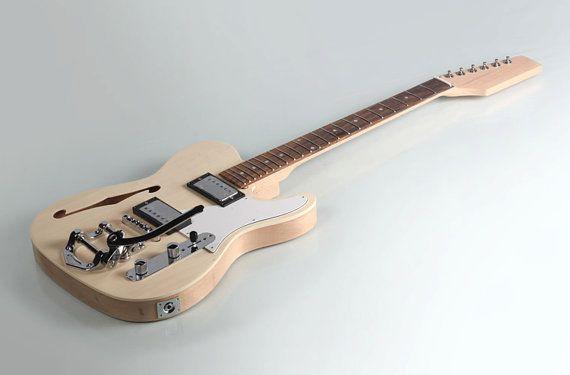 Diy Semi Hollow Body Electric Guitar Kit Bolt On Mahogany Vibrato