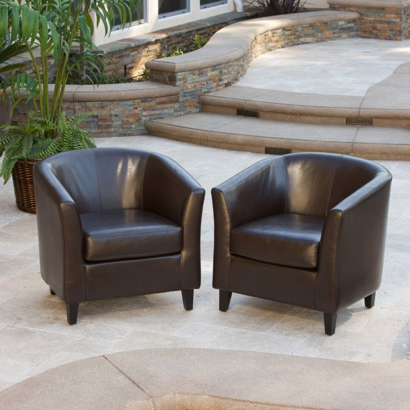 Best Set Of 2 Modern Tub Barrel Design Brown Leather Club 400 x 300