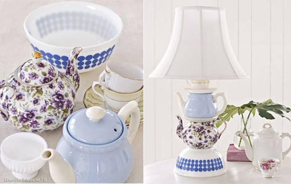 Come trasformare delle vecchie teiere in una bellissima lampada! #creativeideas #diy #diyideas