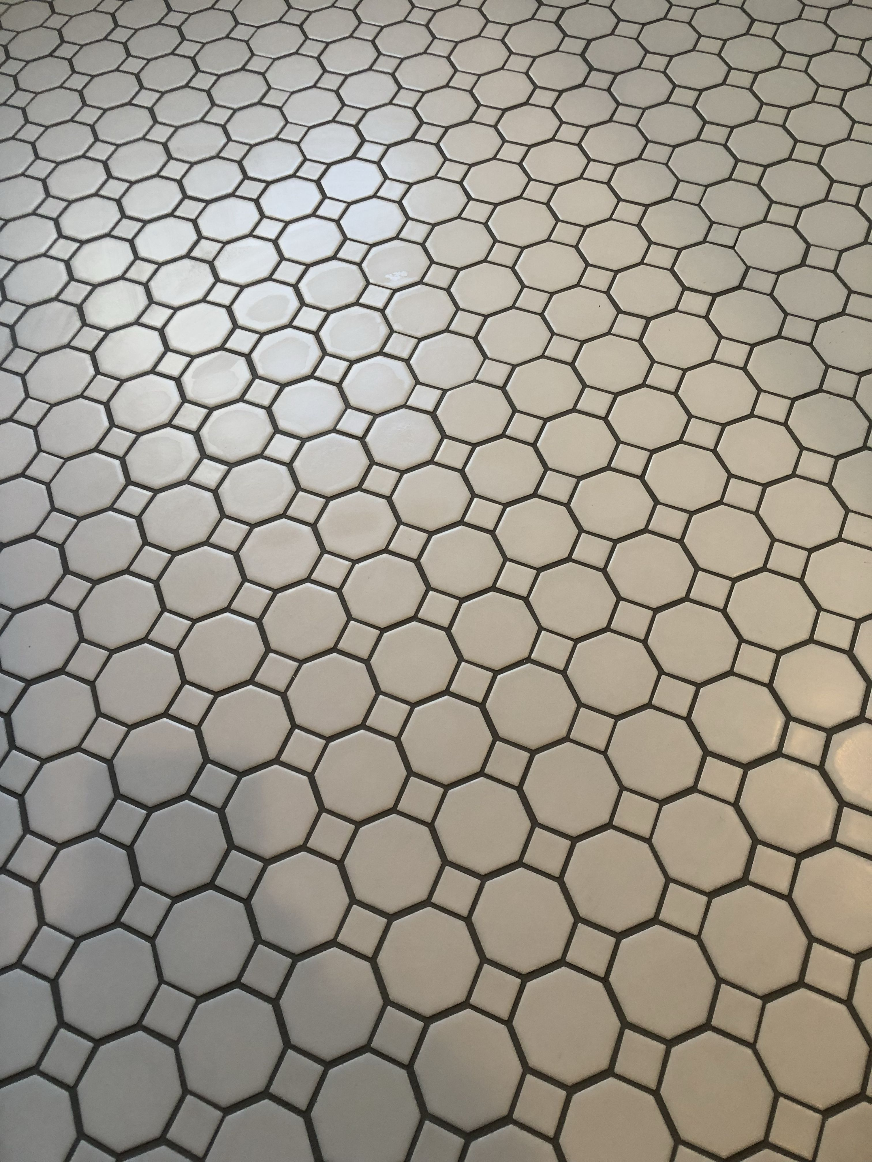 White Porcelain Hex Tile With Silver Gray Grout Powder
