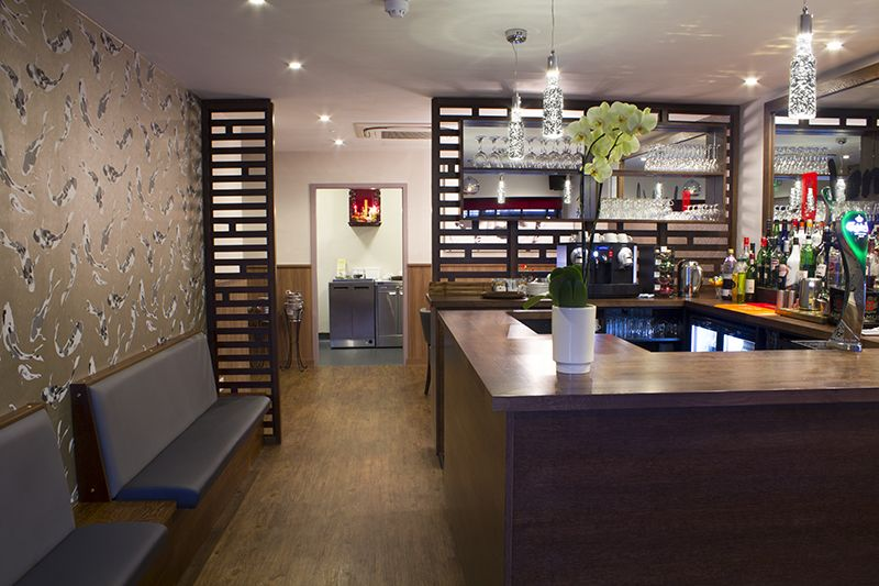 The bar and take away area at lon wah chinese restaurant in wickford interior design