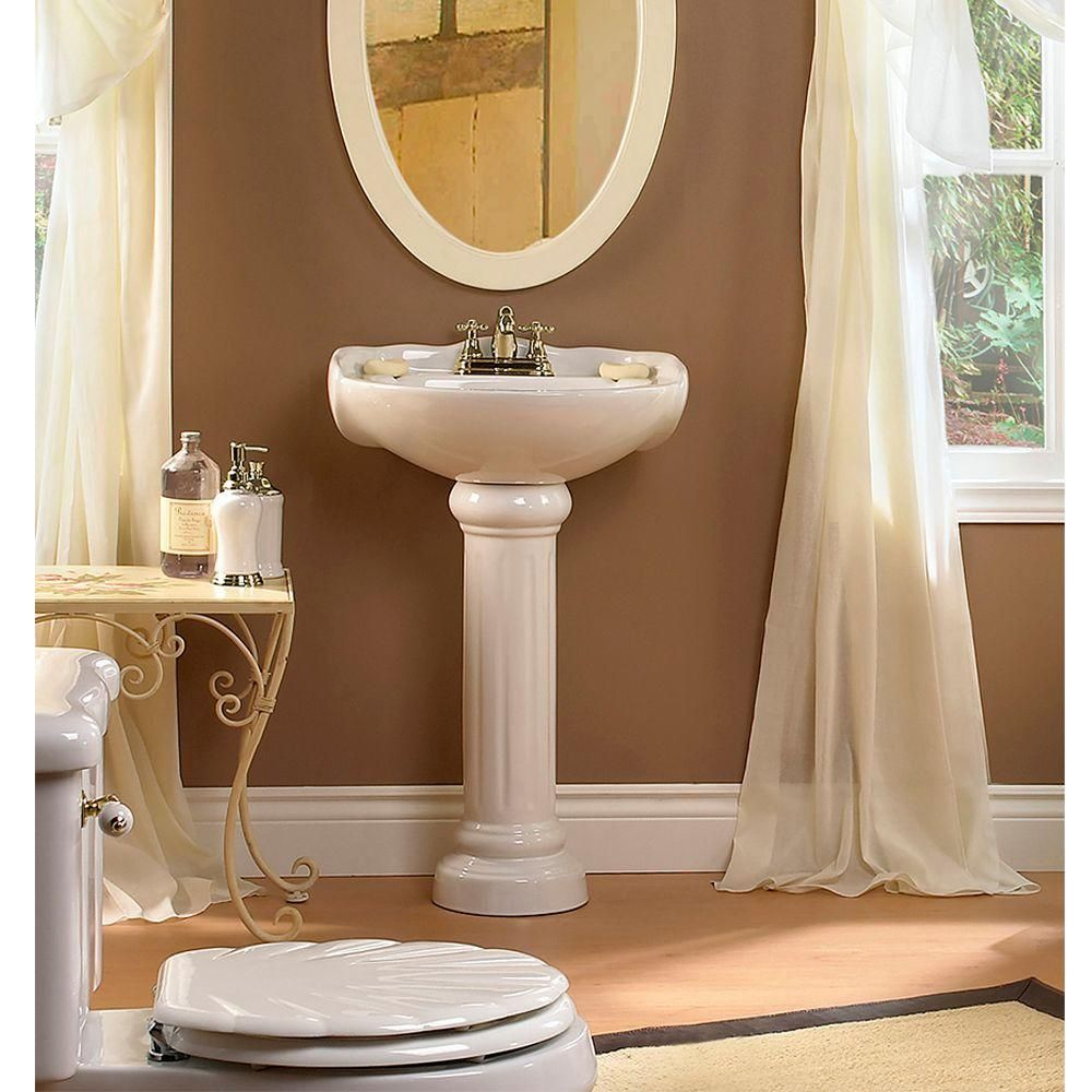 Glacier Bay Westminster 21 In. Pedestal Sink Basin In White F 6800 8W At  The Home Depot