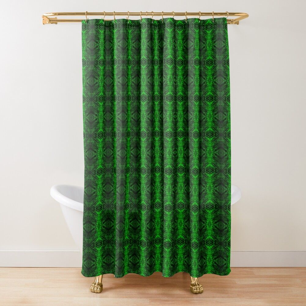 Chic Abstract Emerald Green Pattern Shower Curtain By Havendesign