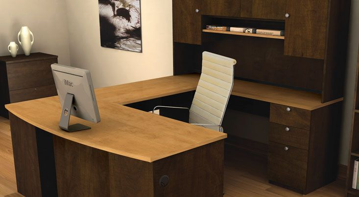 Awesome Modern Office Desk With Dark Walnut Base And Varnished White Oak Wood Top Surface As Well Furniture U Shaped