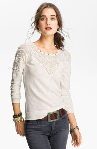 Free People Barton Springs Ivory Top Shirt Vintage Inspired Size XS NWD $68