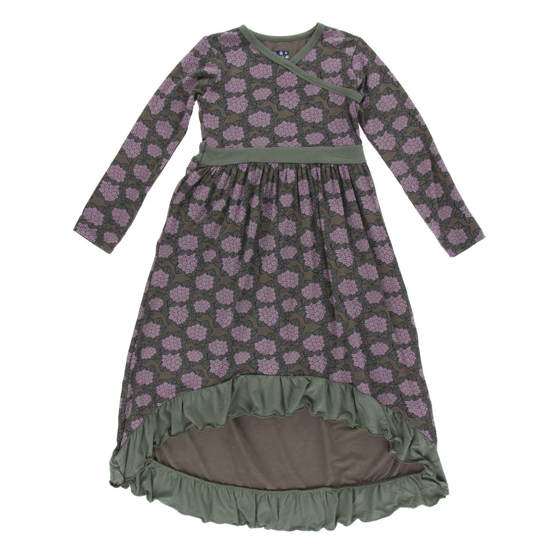 Kickee pants print long sleeve hilo maxi dress african violets st