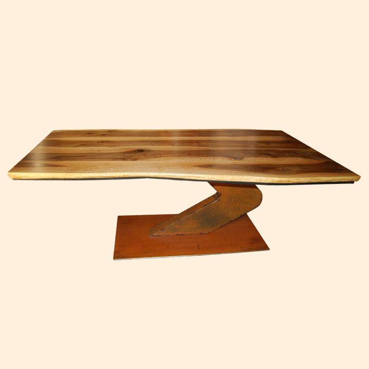 Holz Mbel Tisch Massiv Unikat Messmer Monheim Fossilien Stahl