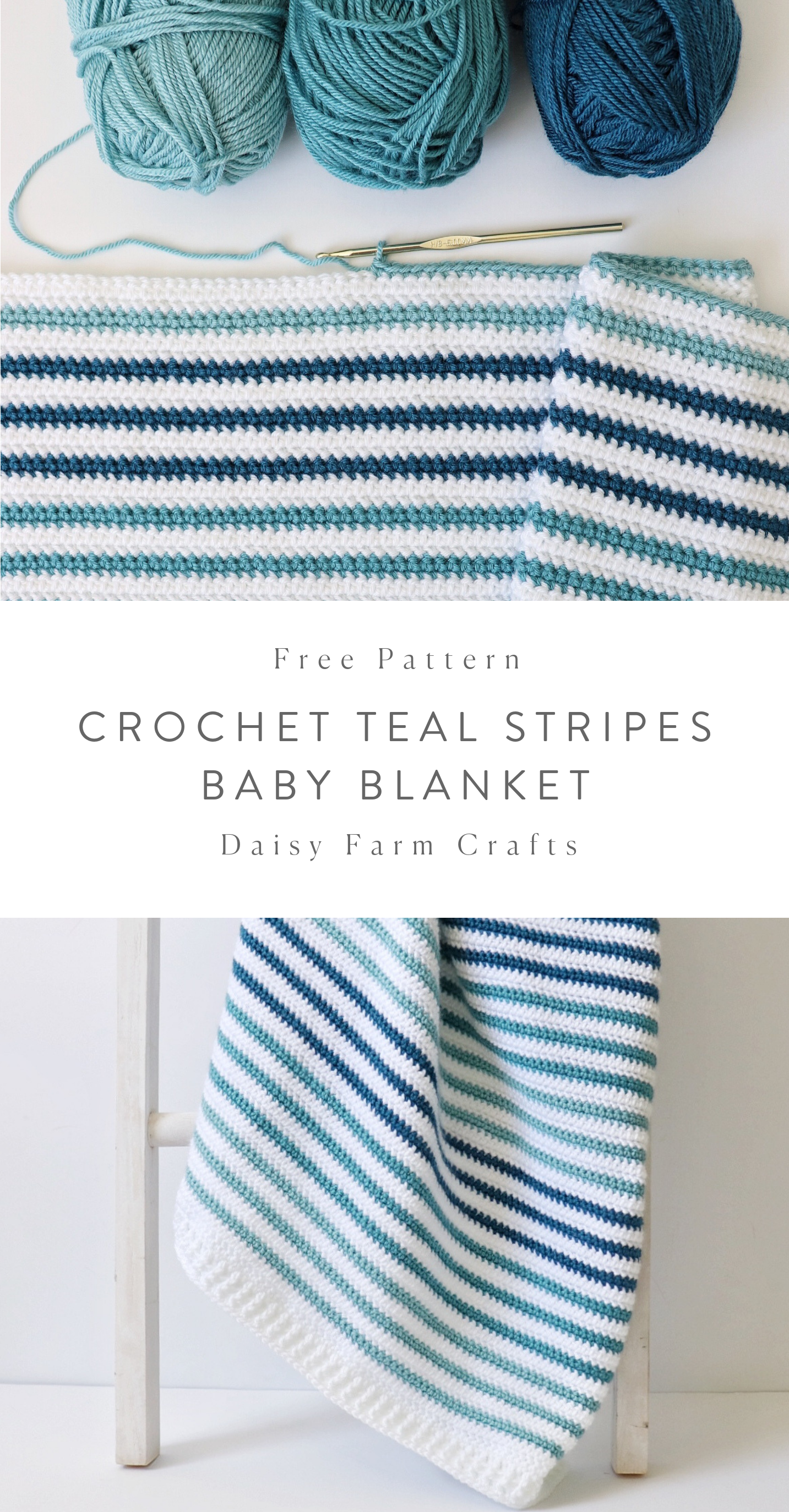 Photo of Free Crochet Blanket Pattern – Teal Stripes Baby Blanket