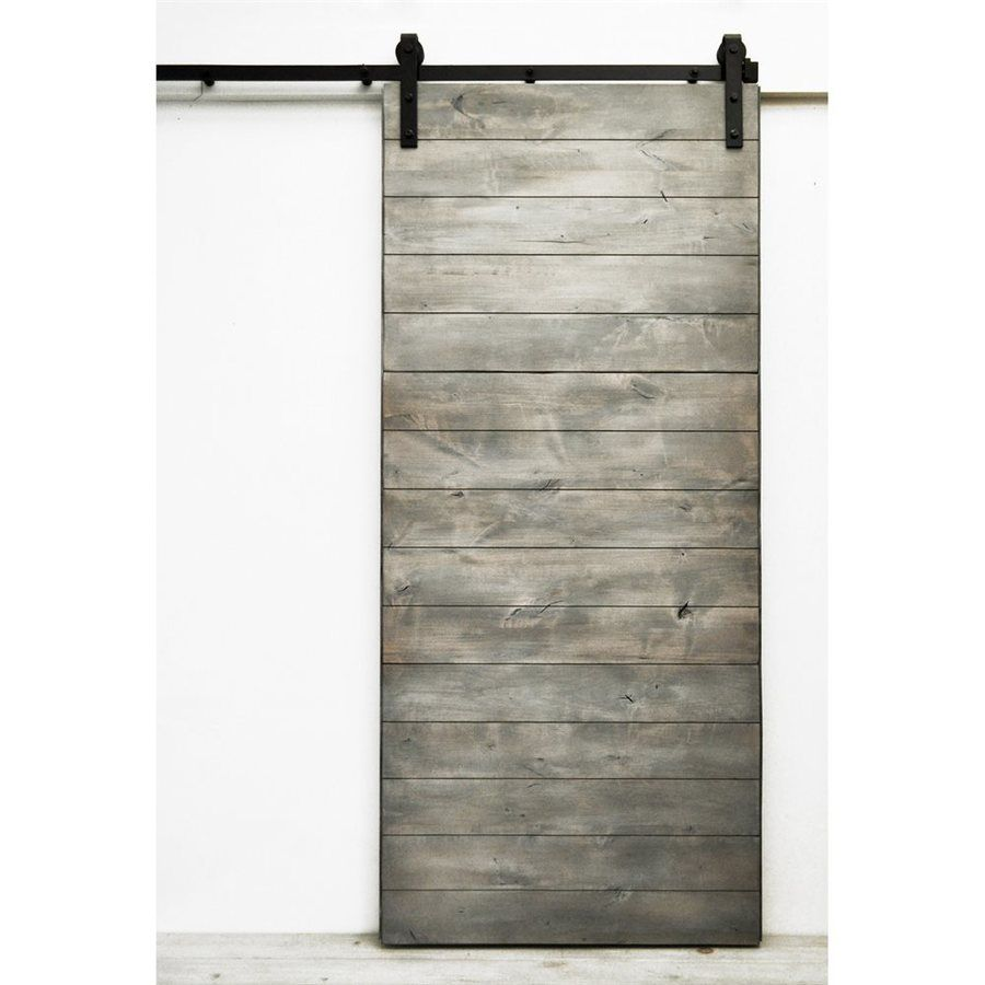 Dogberry Collections Latitude Silverwood Stain Plank Wood Solid Core Barn Door With Hardware Common 36 In X 82 In Actual 36 In X 82 In Lowes Com Glass Barn Doors Barn Doors Sliding Barn Door Hardware