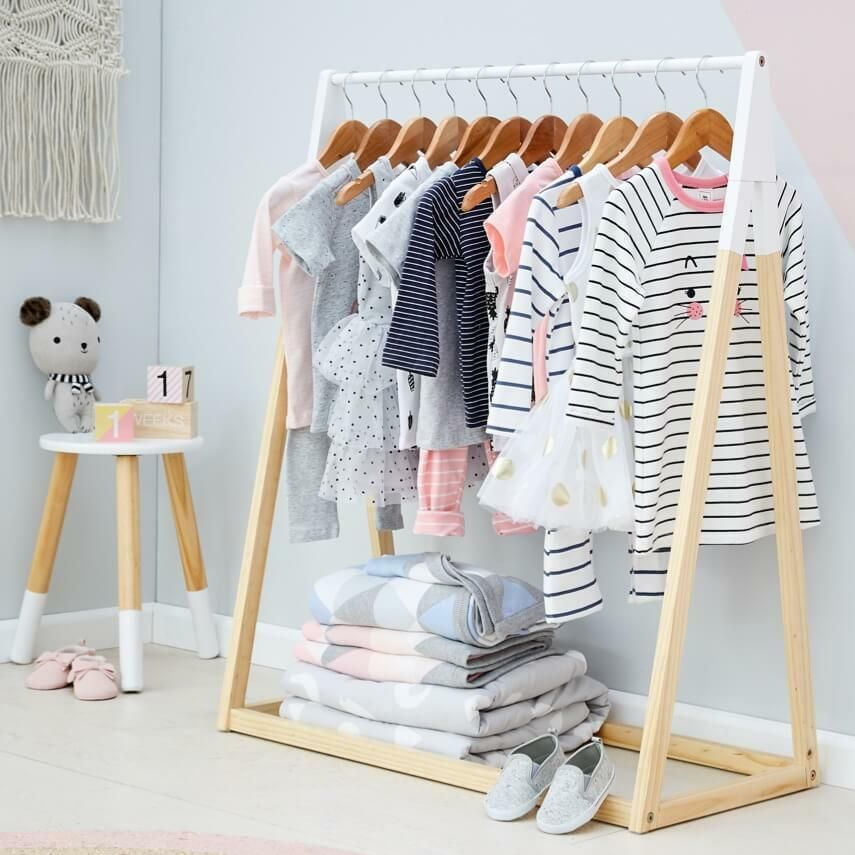 Nursery Clothes Rack Kids Garment Wooden Hanger Baby Storage Clothing Stand Wood Ebay In 2020 Baby Storage Clothes Hanger Storage Baby Nursery Storage