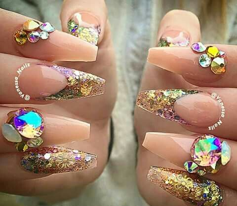 Nude And Gold Glitter Junk Nails Nail Designs I Luv Pinterest