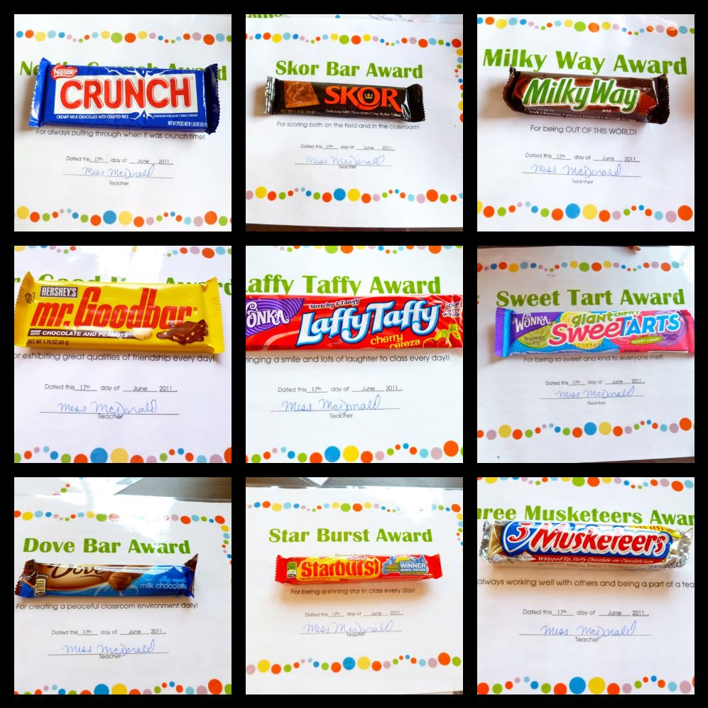 Quotes On Sports Prize Distribution: Candy Bar Awards- I Did This For My Third Graders On The
