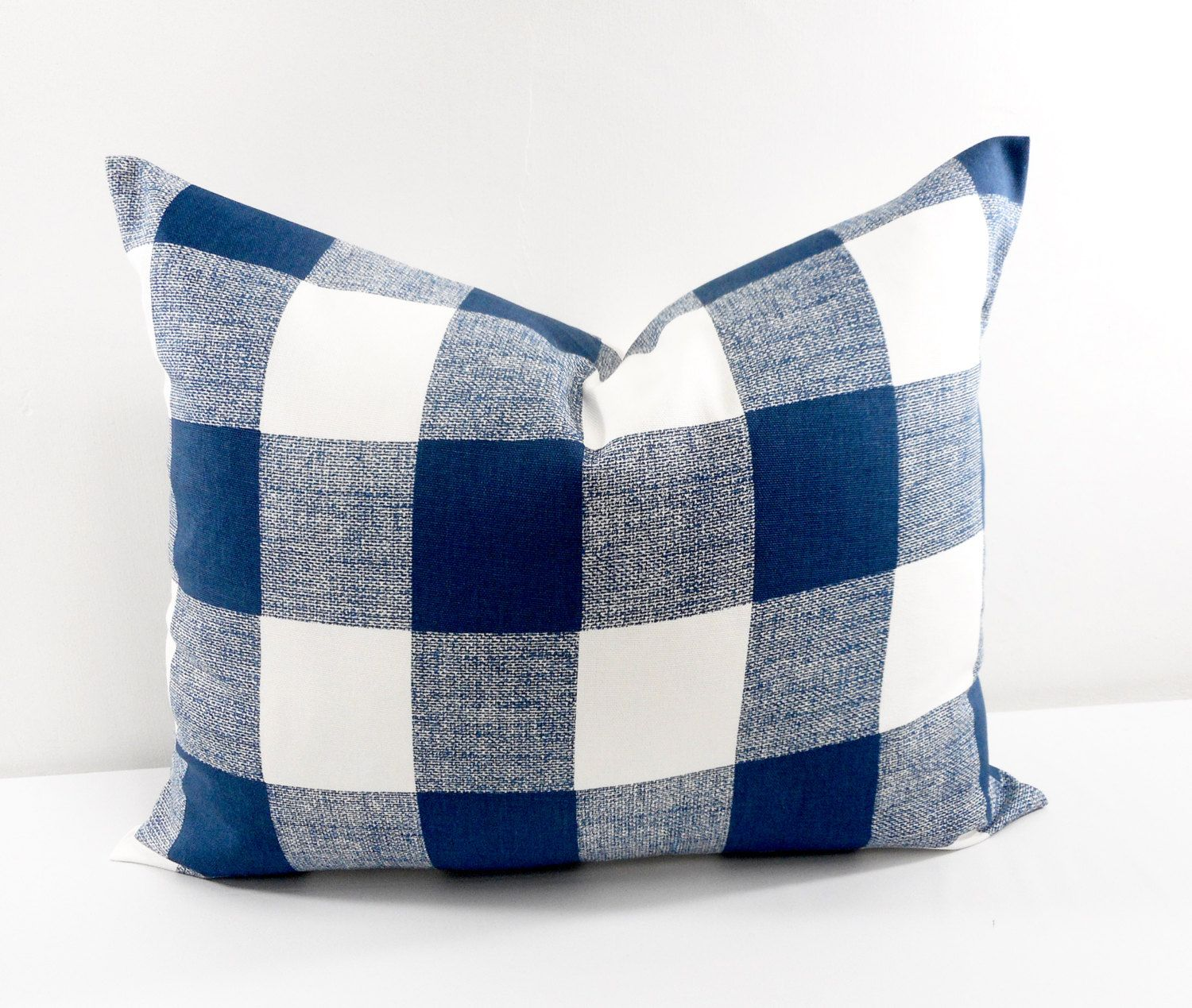 Blue pillow x lumbar navy blue check cushion covers blue and
