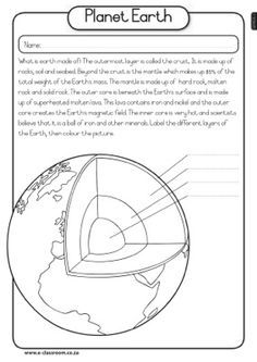 Layers of the Earth worksheet http//larryferlazzo ...