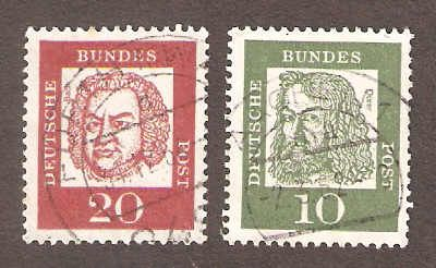 2 cancelled stamps Bundes Deutsche 10 and 20. Stamps are