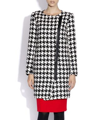 Black dogtooth wool blend coat Sale - NISSA Sale