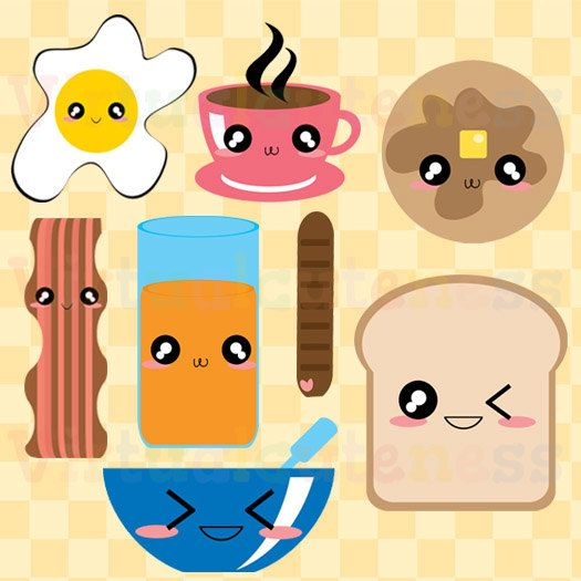 Breakfast Clipart - Food Clip Art, Planner, Scrapbooking Clipart, Kawaii, Chibi, Cute, Eggs, Bacon, Coffee, Free Commercial and Personal Use