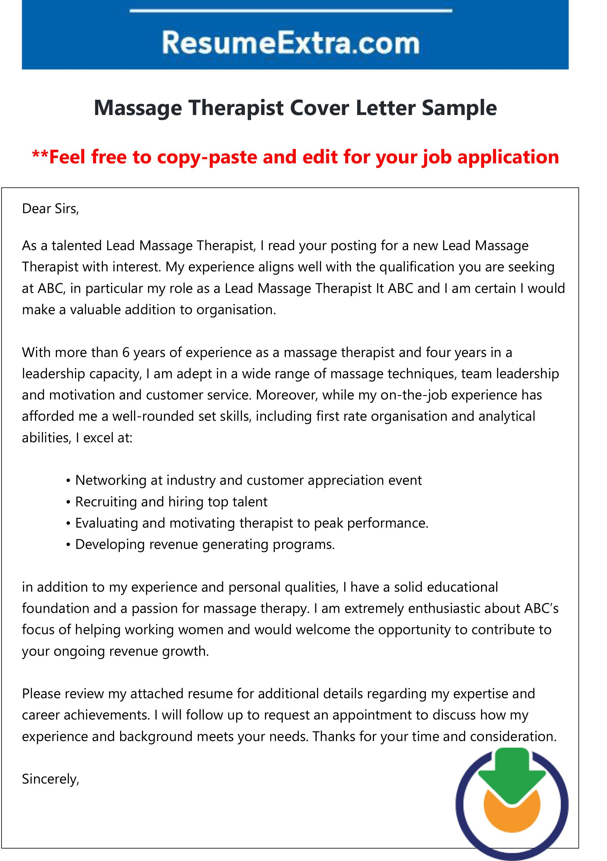 Free Massage Therapist Cover Letter Cover Letter Sample Massage Therapist Jobs Lettering