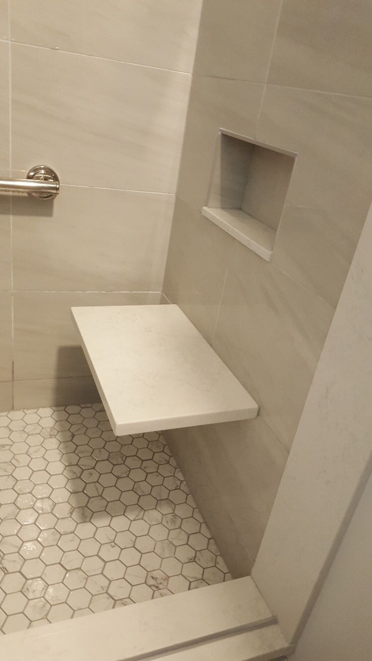 Shower Benches Are A Handy Universal Design Element That Are A Benefit To Everyone Regardless Of Mobility Or Shower Bench Bathroom Vanity Designs Shower Seat