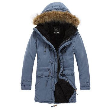 Men Winter Sherpa Lined Thick Parka Outdoor Warm Coat Windproof ...