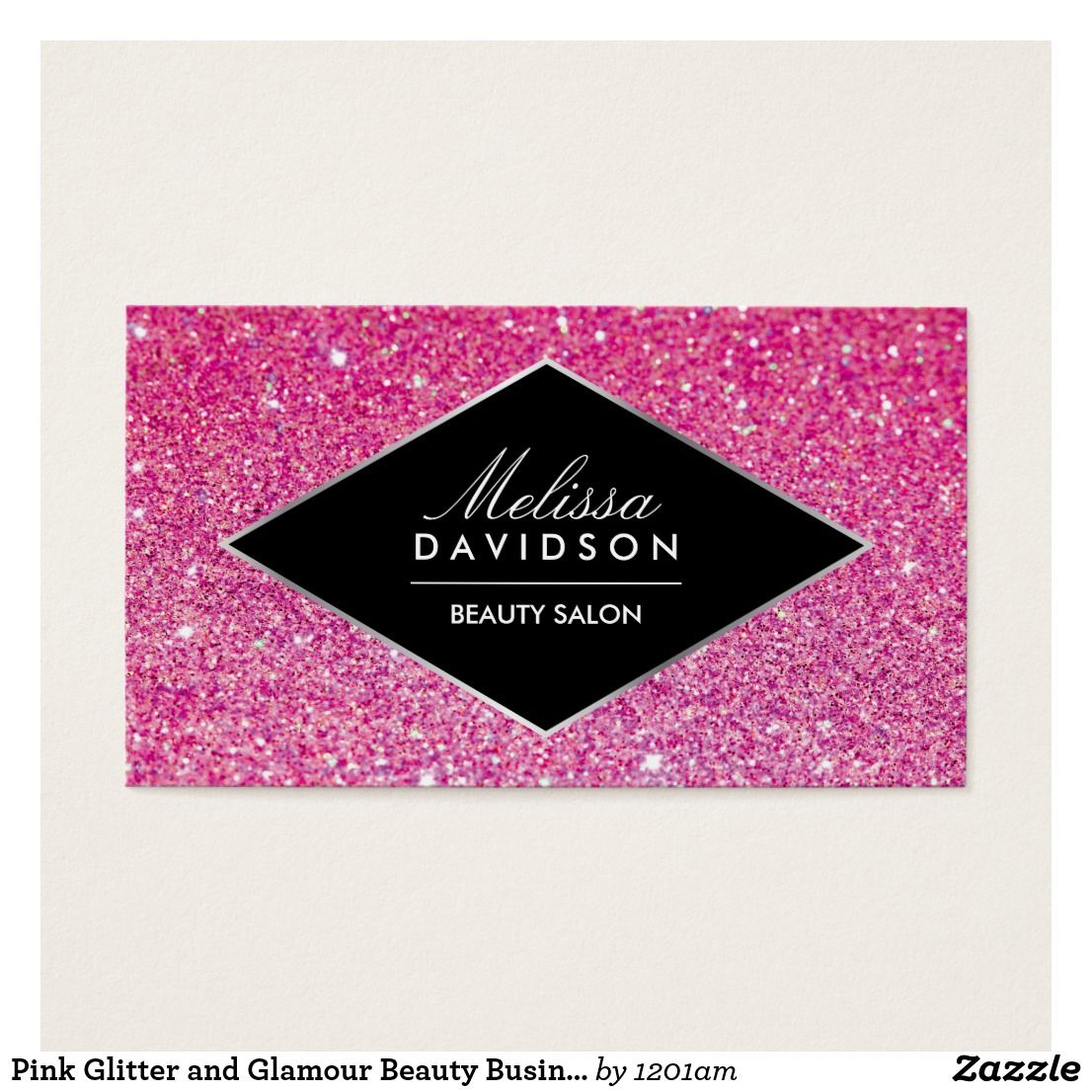 Pink Glitter And Glamour Beauty Business Card Beauty Business