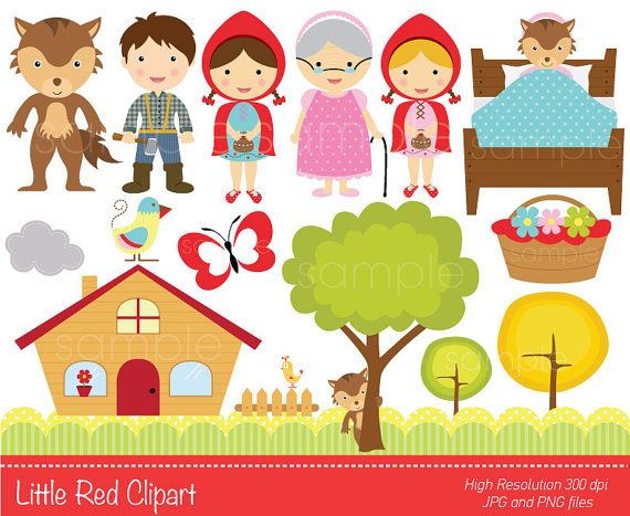 Digital Clipart Little Red Clip Art For Scrapbooking Invitations Paper Crafts Cards Making Instant Download Printable File Caperucita Roja Dibujo Cuento De Caperucita Caperucita Roja