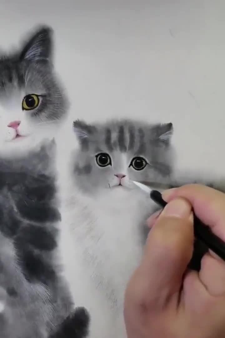 Adorable kitten brush painting, how to paint cat u