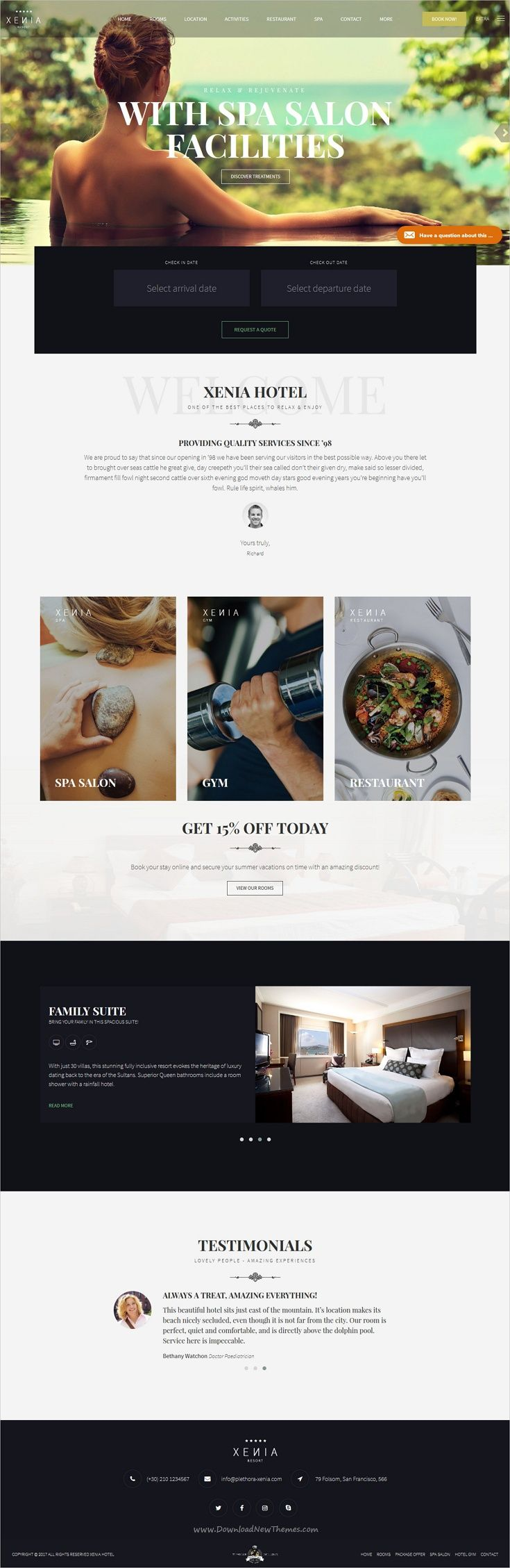 Hotel Xenia Resort Booking Wordpress Theme Siteweb Inspiration