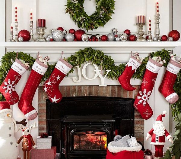 personalized christmas stockings Christmas fireplace decoration ideas  traditional red white colors