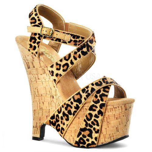 05e8657e018c Exotic Footwear - 6.5 Inch Wedge Heel Cork Platform Leopard Pony Hair  Double Criss Cross Sandal