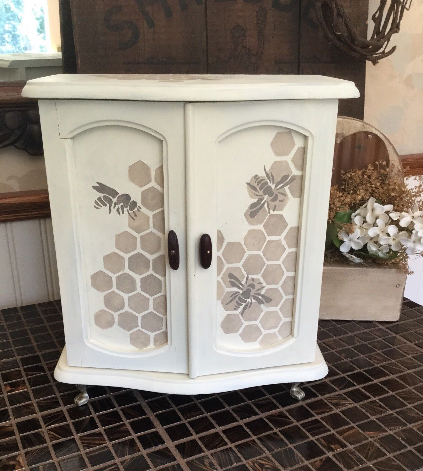 Vintage Upcycled Hand Painted Jewelry Box Stenciled Bee Decor
