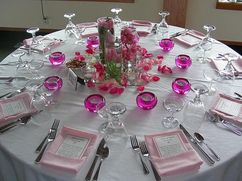 wedding decorating a table