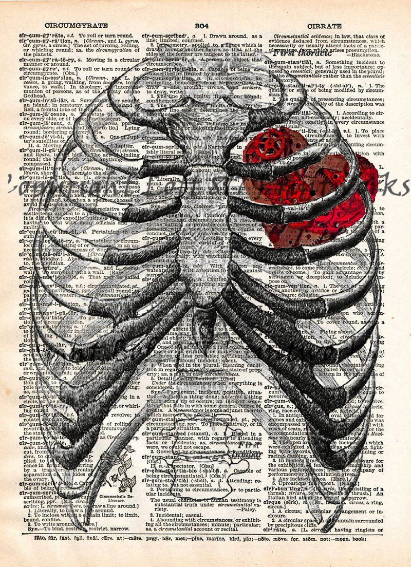 Steampunk clockwork heart, vintage anatomy ribcage, dictionary page ...