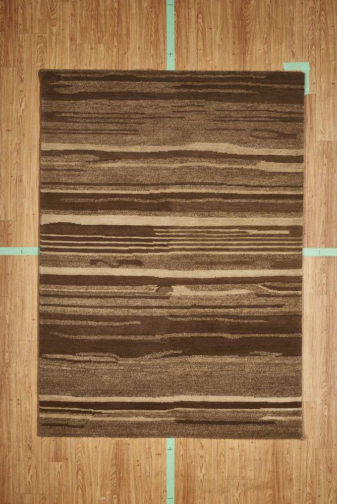 "5' 3"" x 7' 7"" Brown Stripes Contemporary Handloom Area Rug Modern"