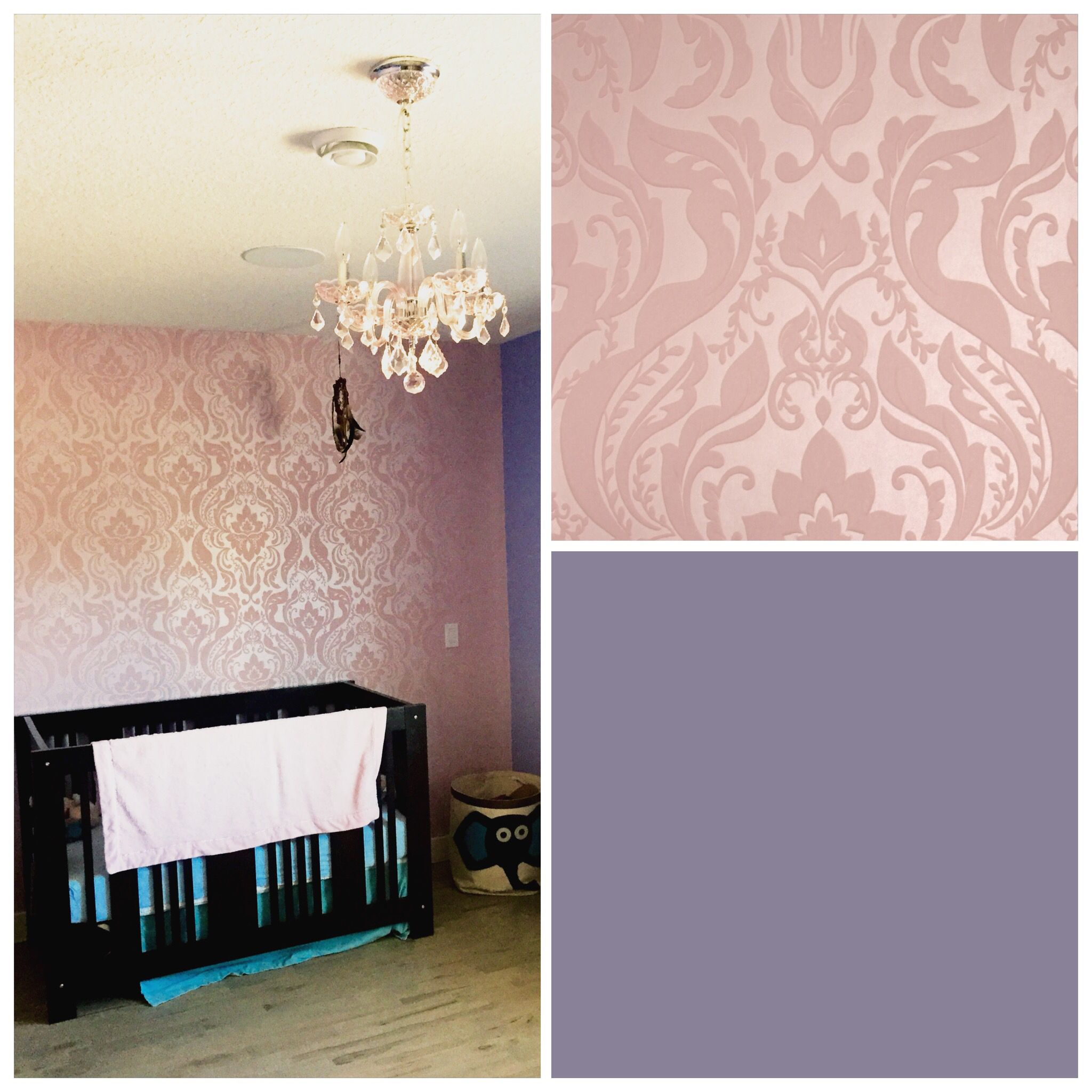 Soft pink flocked damask wallpaper by JF Fabrics from Magique Book was selected to complement pastel purples and pick crystal chandelier #yyc #calgary #wallsalive #jffabrics #wallpaper #pinkdamask #flockedwallpaper #girlsbedroom