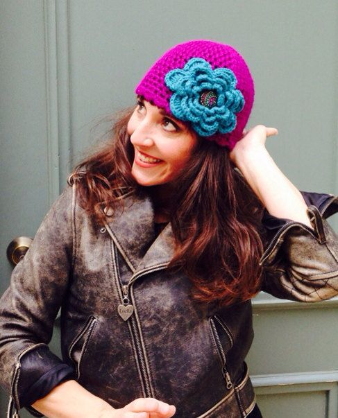 Women's Magenta Crochet Mesh Hat with Large Turquoise Flower, Free Shipping